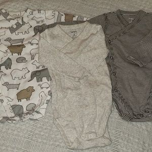 3 pack Carters side snap bodysuits
